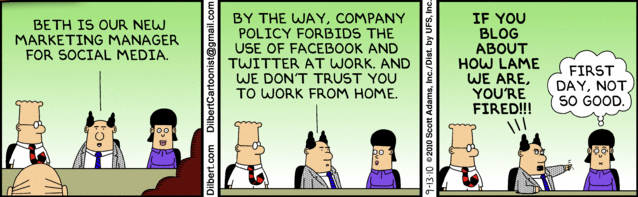 Dilbert & Social Media Marketing Manager strip