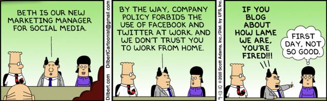 Dilbert & Social Media Marketing Manager strip